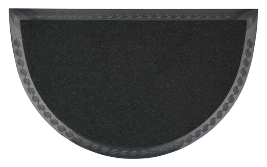 Half- moon rubber doormat with matting.