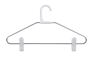 Chrome clothes hanger with clips.