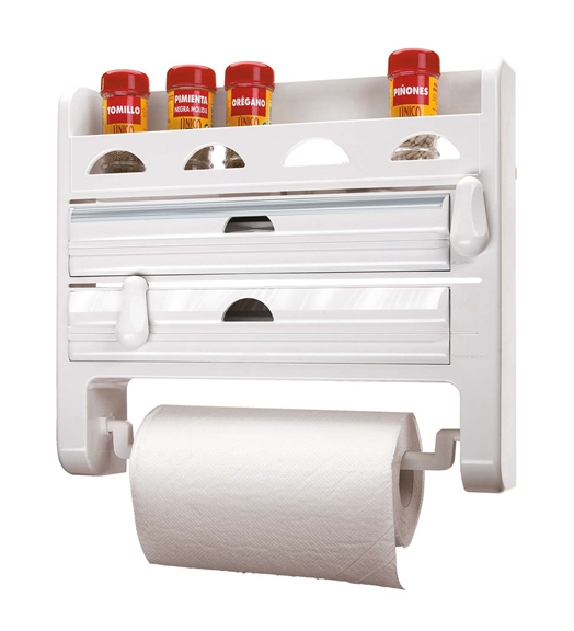 Triple roll holder with spice rack.